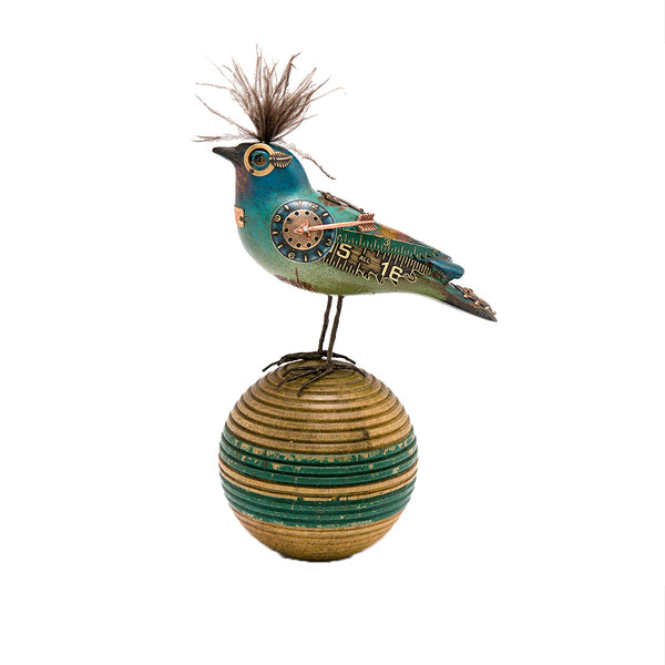 Teal Blue Bird on Ball