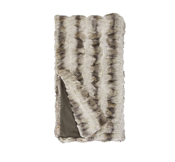 Chinchilla Faux Fur Throw In Truffle