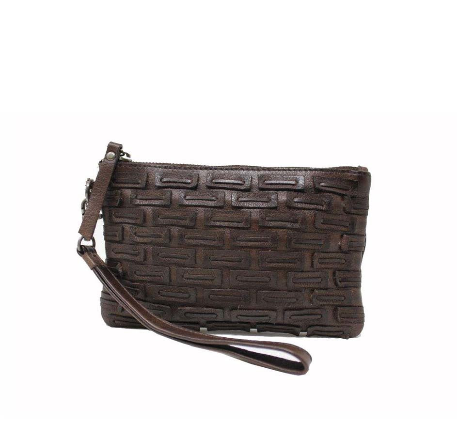 Woven Wristlet in Brown