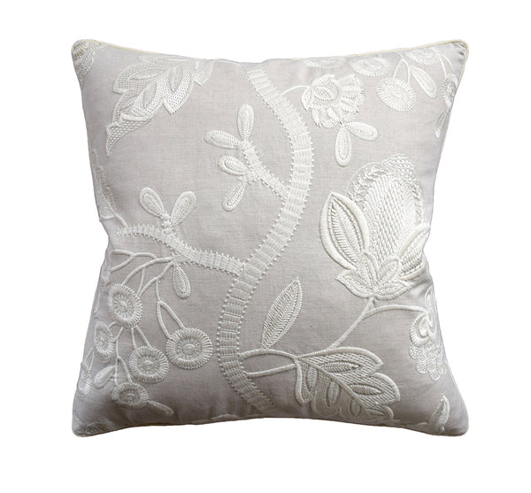 Alladale Embroidered Pillow in Cream
