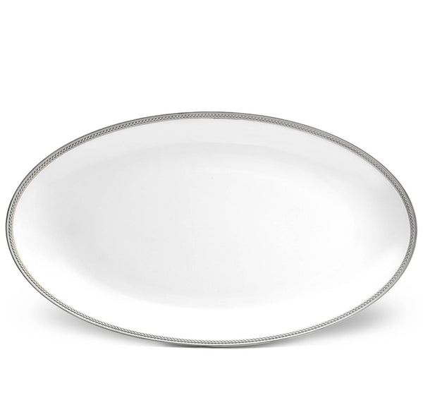 Soie Tressee Large Oval Platter In Platinum