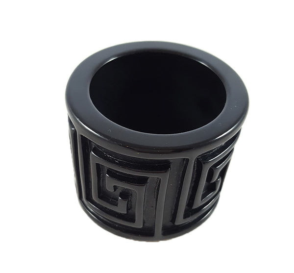 Greek Key Napkin Ring in Black
