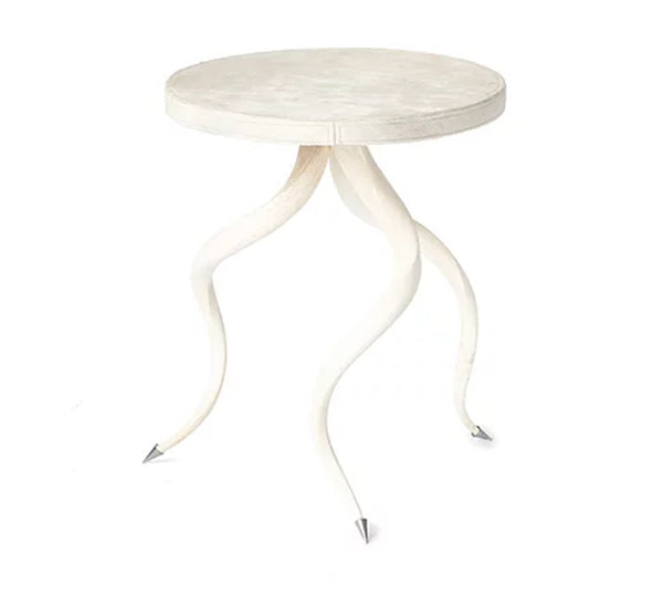 Cream Hide Side Table with Kudu Legs