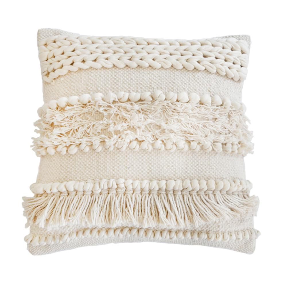 "Iman Hand Woven Pillow In Ivory  20""x20"""
