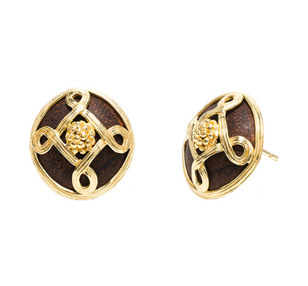 Monique Stud Earrings, Gold With Teak