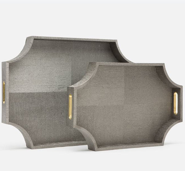 Paden Cut Corner Tray In Pewter (Available In 2 Sizes)