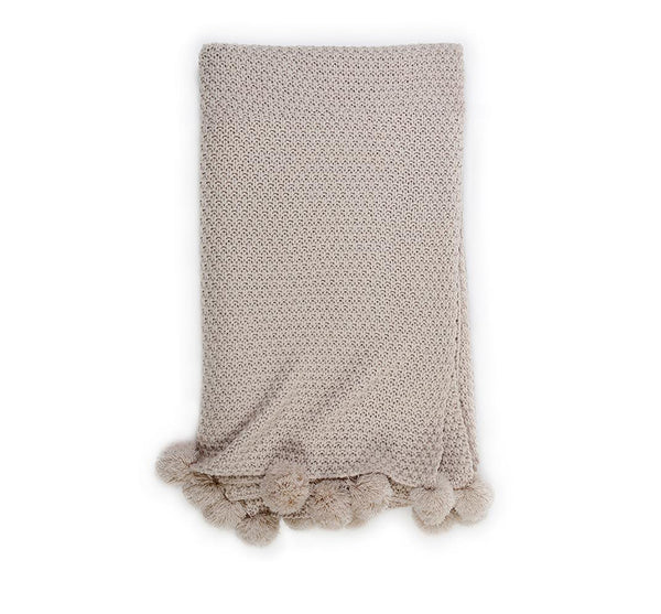 Woven Pom Pom Throw in Taupe