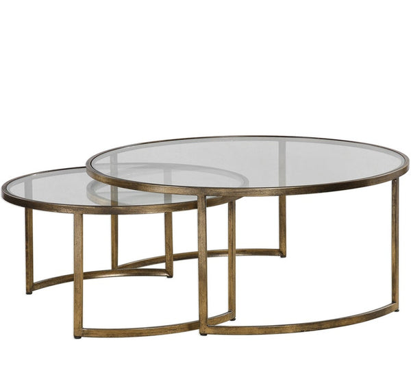 Nesting Cocktail Tables In Antique Gold