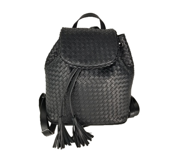 Backpack in Woven Leather Black In Two Sizes