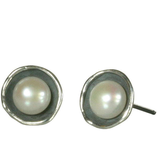 Pearl Oxidized Silver Post Earring