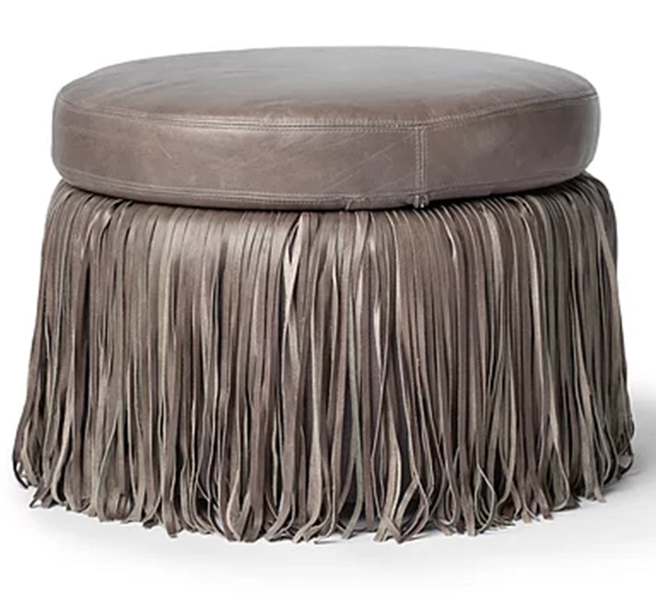 Round Fringed Leather Ottoman