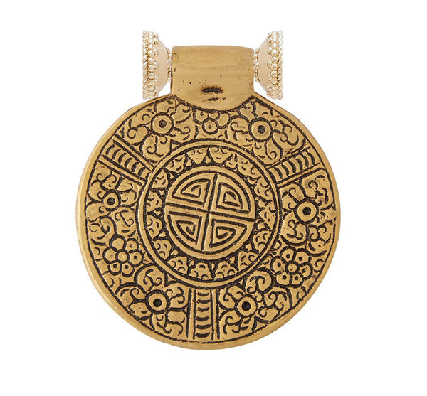 Tibetan Treasures Brass Floral Medallion