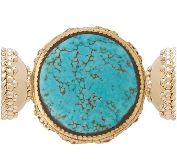 Tibetan Treasure Turquoise Medallion Centerpiece