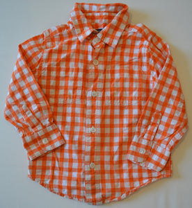 Baby Gap White and Orange Plaid Button-Up Shirt