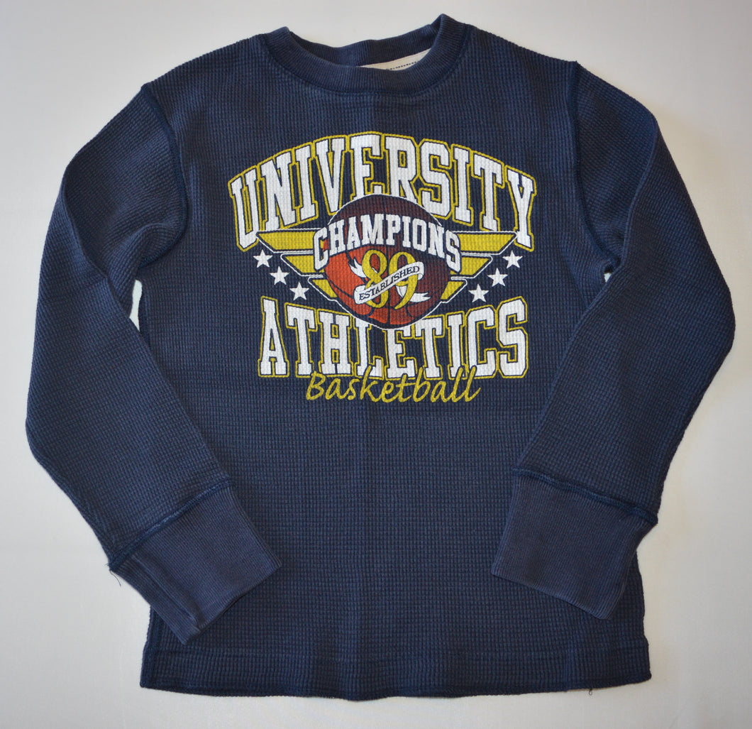 The Children's Place Navy University Champions Athletics Basketball Waffle Long-Sleeve Shirt
