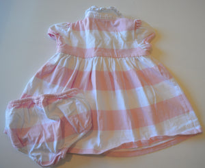 Ralph Lauren Pink and White Striped Dress with Matching Bloomers