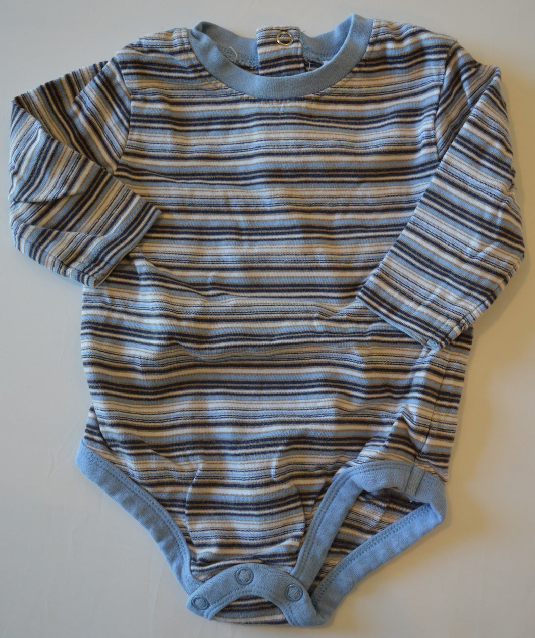 H&M Grey with White Blue and Green Stripes Long-Sleeve Onesie