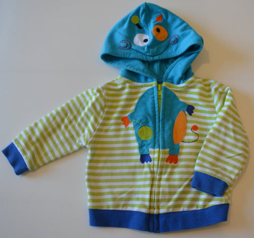 Buster Brown White and Green Stripes with Blue Monster Zip-Up Hoodie and Onesie