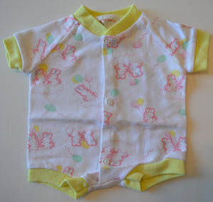 Creations Emval White with Pink Bunnies and Balloons Onesie