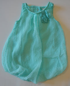 George Mint Sheer with Flower Bubble Dress