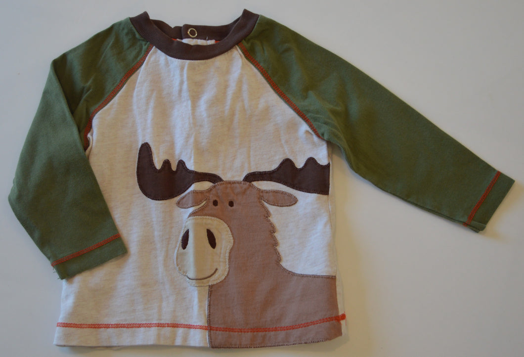 Little Me Tan and Green and Moose Long-Sleeve Shirt