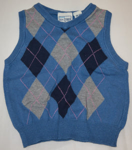 The Children's Place Blue and Grey Argyle Sweater Vest