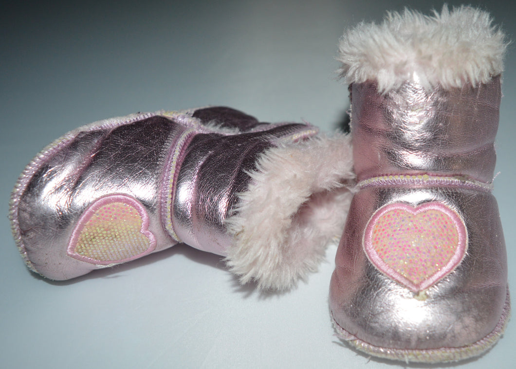 George Metallic Pink with Heart Fur-lined Boots