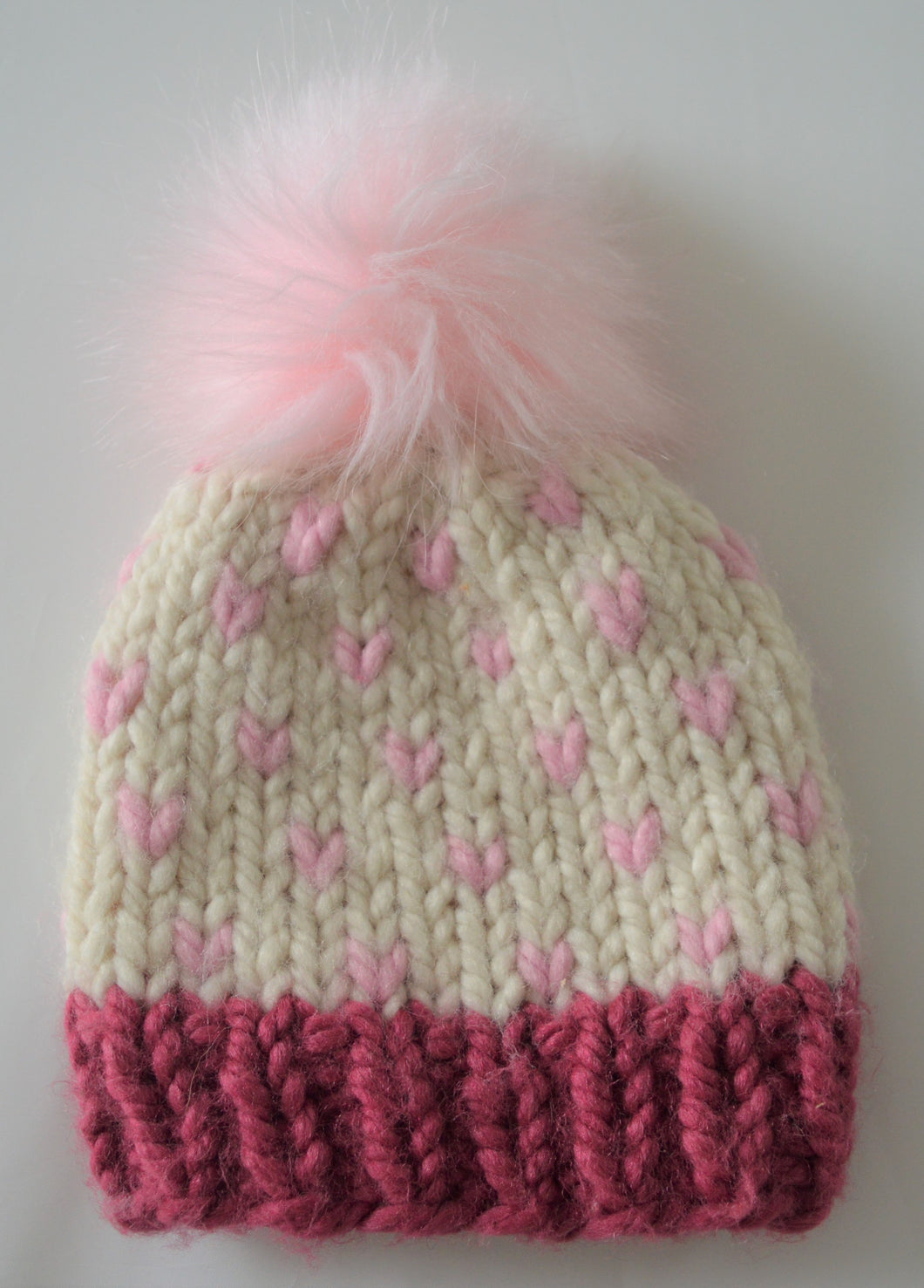 Cream and Burgundy with Pink Hearts Knit Hat and Pink Pom Pom