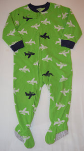 Carter's Green with White and Blue Airplanes Fleece Sleeper
