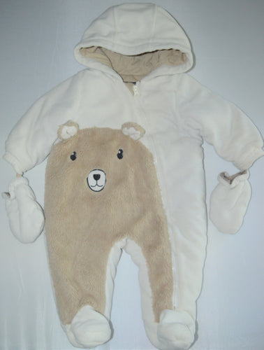George White and Brown Bear Snowsuit with Mittens