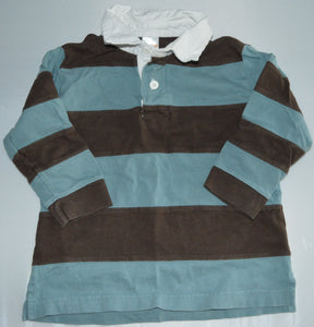 Gymboree Blue and Brown Striped Collared Long-sleeve Shirt