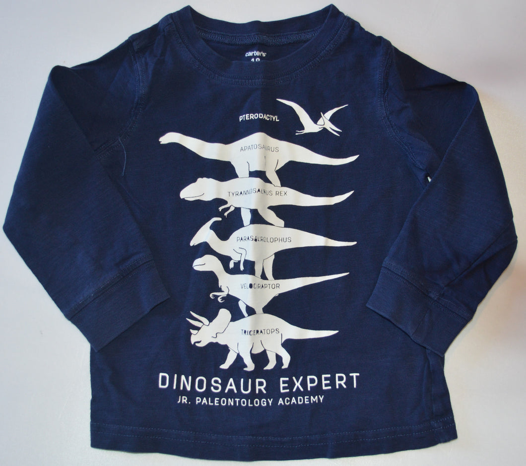 Carter's Navy with White Dinosaur Expert Long-Sleeve Shirt