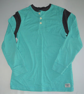 Osh Kosh Teal and Black 1/4 Button-up Long-sleeve Shirt