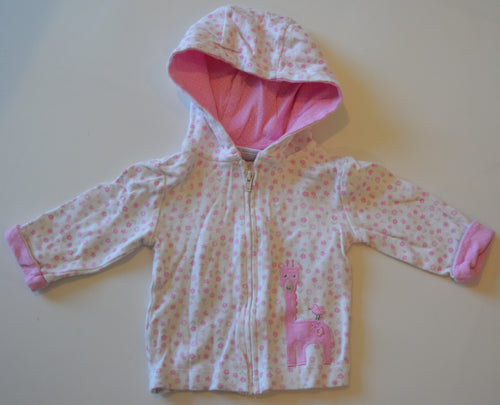 Fisher Price White with Pink Flowers and Giraffe Zip-Up Hoodie and Matching Pants