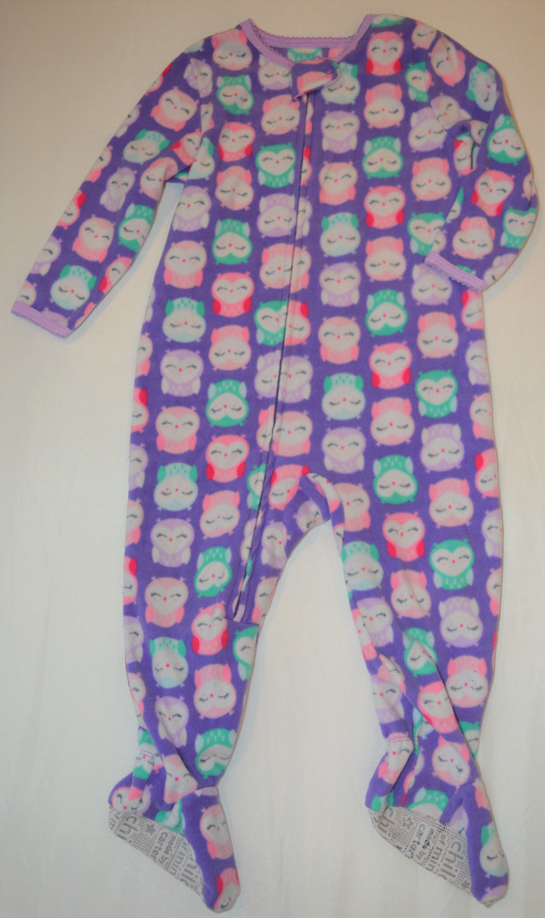 Carter's Purple with Pink Green and Purple Owls Fleece Sleeper