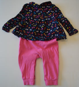 Baby Gap Navy with Colourful Bows Shirt Over Pink Romper