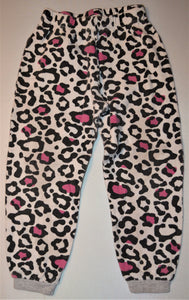 Pekkle White with Black and Pink Cheetah Print Pajama Pants