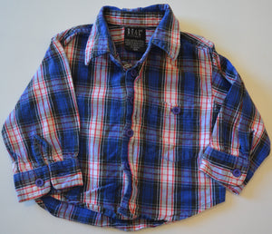 REAL Clothes Blue White and Red Plaid Button-Up Long-Sleeve Shirt