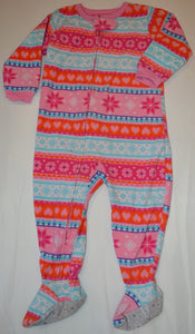 Carter's Pink Orange White and Blue Heart and Snowflake Patterned Fleece Sleeper