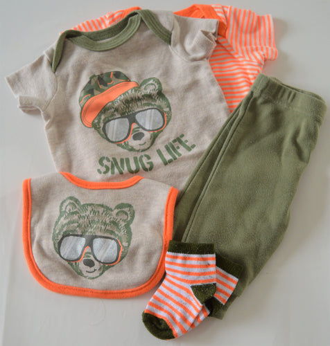 Monkey Bars Orange Green and Tan Bear with Sunglasses Outfit