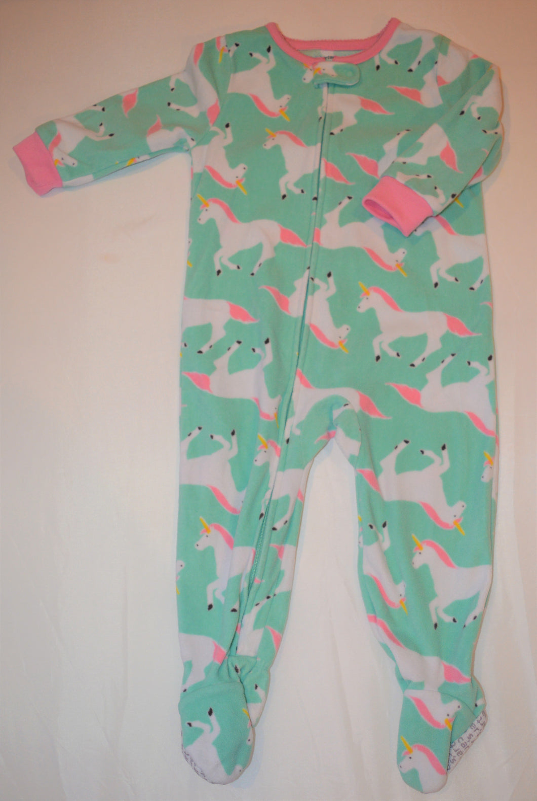 Carter's Mint Green with White and Pink Horses Fleece Sleeper