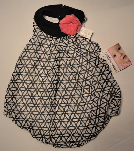 Baby Essentials White with Black Flowers and Pink Flower Bubble Dress
