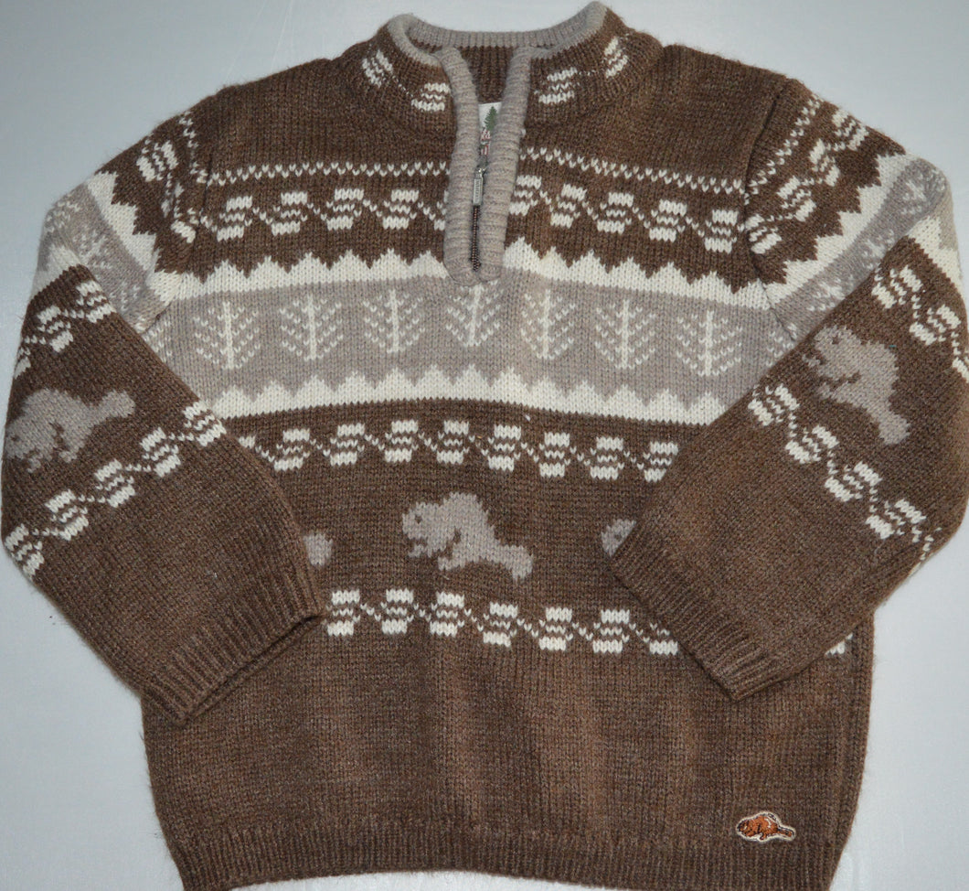 Roots Outdoors Brown Beaver 1/4 Zip-up Knit Sweater