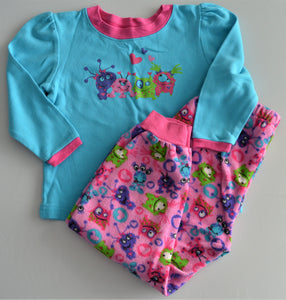 Monsters by Animalz Blue and Pink Two-piece Pajamas