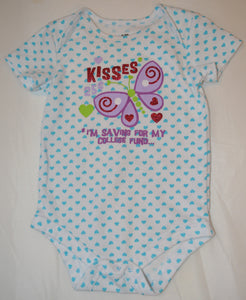 White with Blue Polka Dots Kisses 25¢ I'm Saving for My College Fund... Onesie