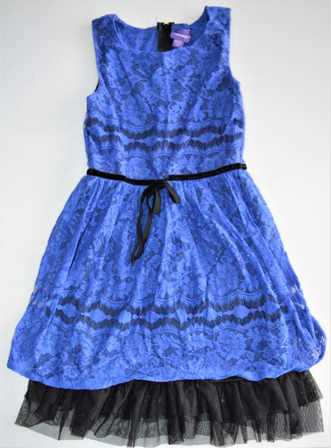 Be Bop Black with Blue Lace-overlay Dress