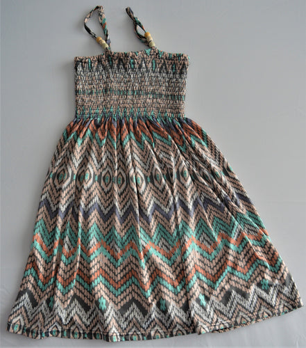 Blue Crush Girl Coral Teal and Grey Aztec Print Dress