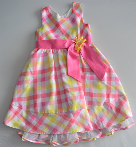 Jona Michelle White with Yellow and Pink Plaid Dress