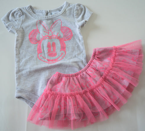 Disney Baby Grey with Pink Sparkly Minnie Mouse with Pink Sparkly Tulle Skirt