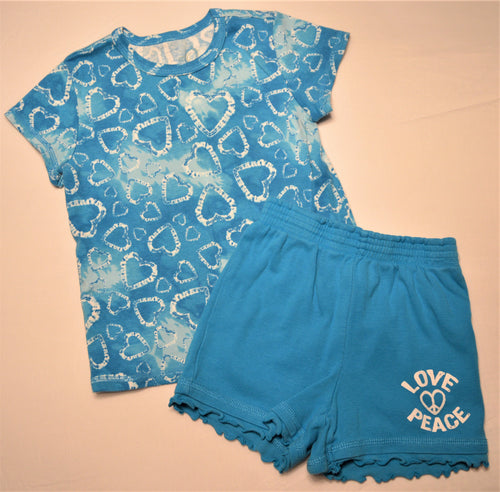 The Children's Place Blue with White Hearts T-shirt and Matching Blue Shorts
